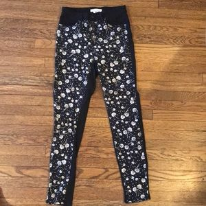 Black high rise pants with floral pattern front
